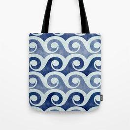 Retro Tropical Beach Waves - Indigo Blue Woodblock Tote Bag
