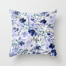 Floral Chaos - Blue Throw Pillow