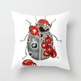 Siege of ladybugs Throw Pillow
