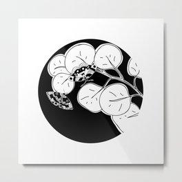 Moon Moth / Black & White Metal Print