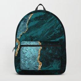 Crushed Green Velvet, Teal And Aqua Marble Backpack