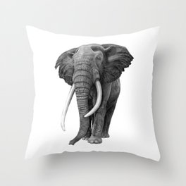 Bull elephant - Drawing in pencil Throw Pillow