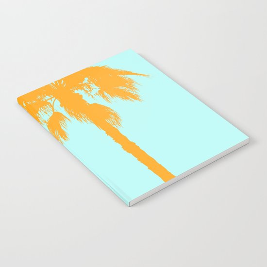Orange palm trees silhouettes on blue by byjwp