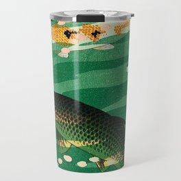Vintage Japanese Woodblock Print Asian Art Koi Pond Fish Turquoise Green Water Cherry Blossom Travel Mug