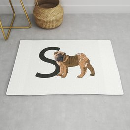 S is for Shar Pei Dog Rug