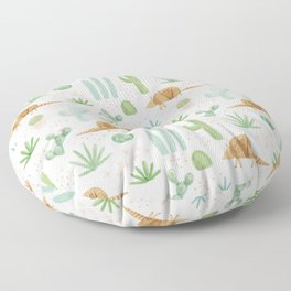 Armadillos in the Desert - Watercolor Floor Pillow