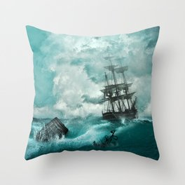 Storm Sea Ship Shipwreck Ocean Blue Throw Pillow