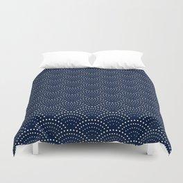 Japanese Blue Wave Seigaiha Indigo Super Moon Pattern Bettbezug