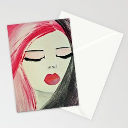 Shy Girl. Abstract Pink Girl. Pink Lips. Pink Hair. Jodilynpaintings. Eyelashes. Gift for All Girls. Stationery Cards
