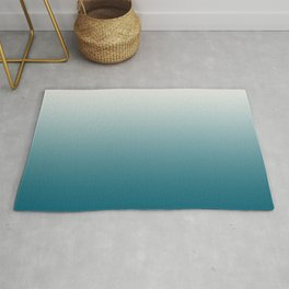 Off White Gradient on Tropical Dark Teal Inspired by Sherwin Williams 2020 Trending Color Oceanside SW6496 Rug