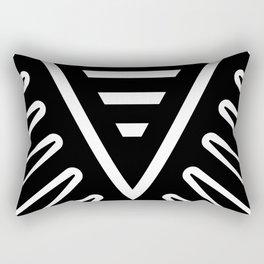 Feather Root Black Rectangular Pillow