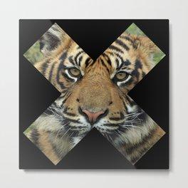 Tiger Cross Metal Print