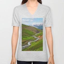 Watercolor Landscape, Trollskagi 32, Iceland Unisex V-Neck