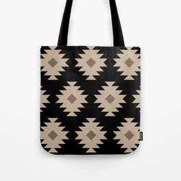 Southwestern Pattern 521 Black and Beige Tote Bag