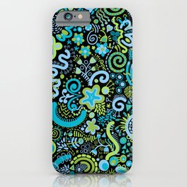 Avocado Navy Sky Blue Zendoodle iPhone Case