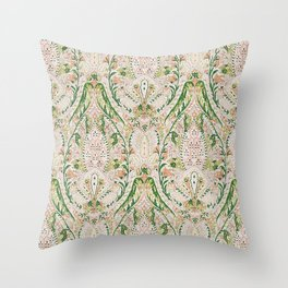 Green Pink Leaf Flower Paisley Throw Pillow