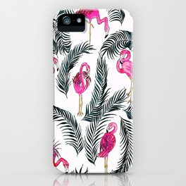 Flamingoes on White iPhone Case
