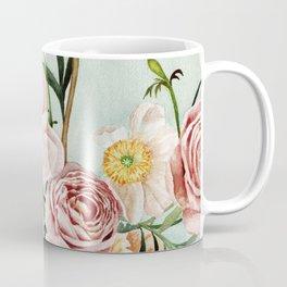 Blue Oval Peonies & Poppies Coffee Mug
