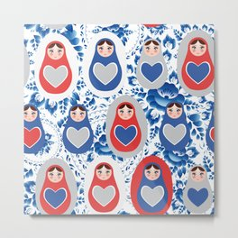blue red gray Russian babushka dolls on a floral background Metal Print