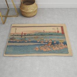 Japanese Art Print - Hiroshige - Kanaya station on the Tokaido Road (1844) Rug