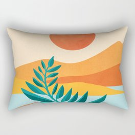 Mountain Sunset / Abstract Landscape Illustration Rectangular Pillow