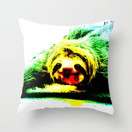 A Smiling Sloth II Throw Pillow