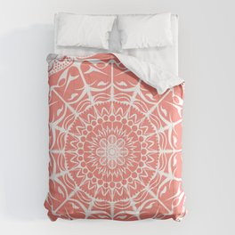Coral Mandala on Light Background Comforters
