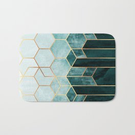 Teal Hexagons Bath Mat