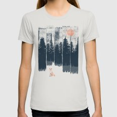 A Fox in the Wild... Silver MEDIUM Womens Fitted Tee