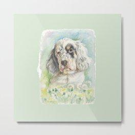 ENGLISH SETTER PUPPY Cute dog portrait on the dandelions meadow Metal Print