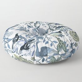 Blue vintage chinoiserie flora Floor Pillow