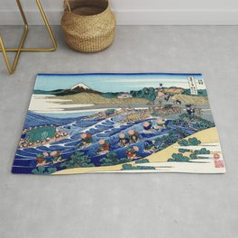 "Hokusai (1760-1849) ""The Fuji from Kanaya on the Tokaido"" Rug"