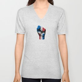 Dominican Flag on a Raised Clenched Fist Unisex V-Neck