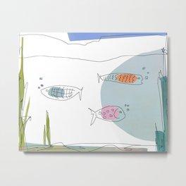 3 Fishies Swimming Under the Ocean Metal Print
