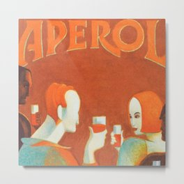 Aperol 'Salute!' Wine and Wine Alcohol Aperitif Vintage Advertisement Poster Metal Print