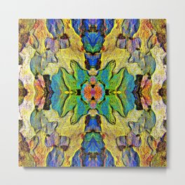 Colorful  Nature Wood Pattern Psychedelic Art Metal Print