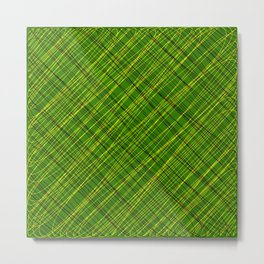 Royal ornament of their green threads and yellow intersecting fibers. Metal Print