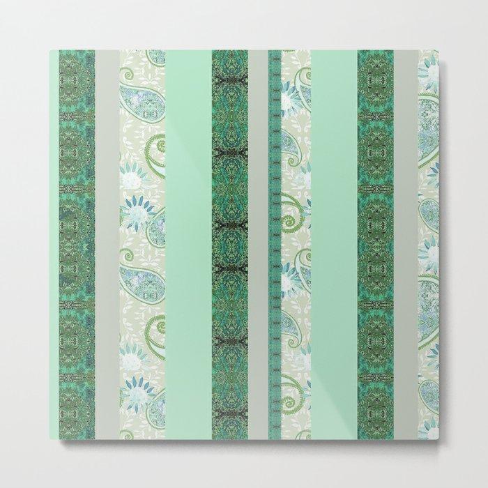 Zakiaz French Stripe Green/Grey Metal Print