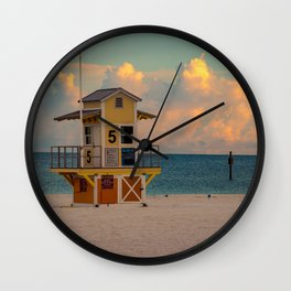 Clearwater Beach Florida Lifeguard Hut Ocean Blue Sunrise Print Wall Clock