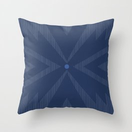 midnight blue striped geo tile Throw Pillow