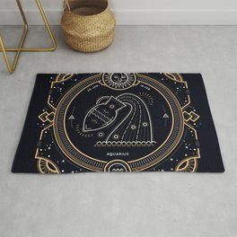 Aquarius Zodiac Golden White on Black Background Rug