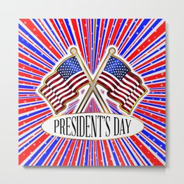 Stars And Presidents Day Flag Metal Print