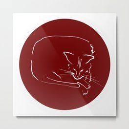 Relaxing Cat in claret circle Metal Print