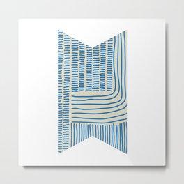 Digital Stitches thick beige + blue Metal Print