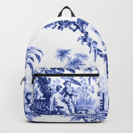 Blue Chinoiserie Toile Backpack