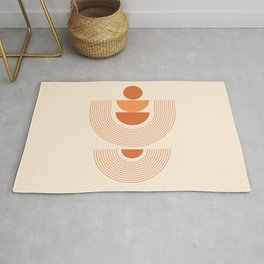 Geometric Shapes in Burnt Orange Shades (Sun Rainbow Abstract) Rug