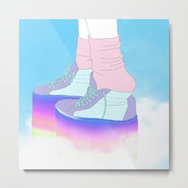 STEPPING WITH RAINBOW Metal Print