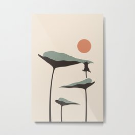Cat and Plant 30 Metal Print