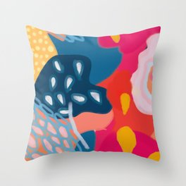 Abstract Bright Coral Seascape  Throw Pillow