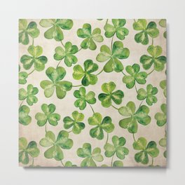 Watercolor Shamrock Pattern on White Metal Print